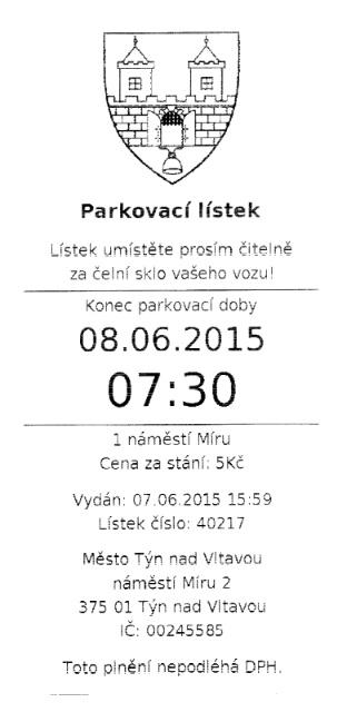 Parkovací lístek Týn nad Vltavou